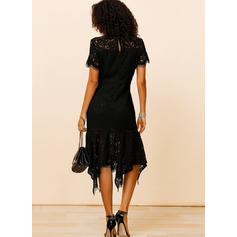 Lace/Solid Short Sleeves Sheath Knee Length Little Black/Party/Elegant Dresses