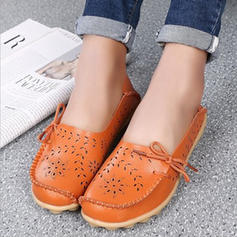 Women's Real Leather Flat Heel Flats With Hollow-out shoes