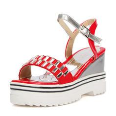 Femmes PU Talon compensé Sandales Compensée À bout ouvert Escarpins avec Boucle chaussures