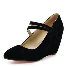 Femmes Suède Talon compensé Escarpins Bout fermé Compensée avec Bowknot chaussures