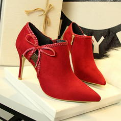 Women's Suede Stiletto Heel Pumps Closed Toe Ankle Boots With Applique shoes