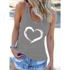 Impresión Cuello redondo Sin mangas Casual Camisetas sin mangas
