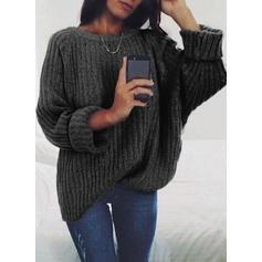 Egyszínű Nagyhurkos kötés Kerek nyak πουλόβερ