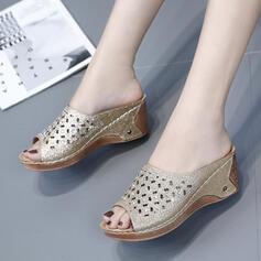 Femmes Similicuir Talon compensé Sandales Plateforme À bout ouvert Chaussons avec Ouvertes chaussures