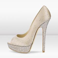 Women's Leatherette Stiletto Heel Pumps Peep Toe With Rhinestone shoes