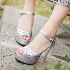 Women's PU Stiletto Heel Sandals Pumps Platform Peep Toe Slingbacks With Rhinestone shoes