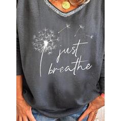 Print Figure Dandelion V-Neck Long Sleeves Casual T-shirts