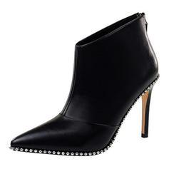 Femmes Similicuir Talon stiletto Escarpins Bout fermé Bottes Martin bottes avec Brodé Zip chaussures