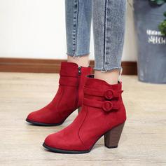 Donna Camoscio Tacco spesso Stiletto Stivali scarpe
