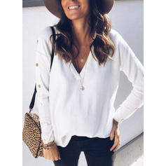 Solid V-Neck Knit Tops