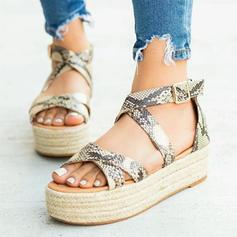 Femmes PU Talon plat Sandales Chaussures plates avec Boucle chaussures