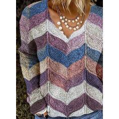 Color Block V-Neck Casual Knit Tops