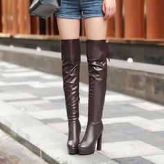 Femmes Similicuir Talon stiletto Escarpins Plateforme Bout fermé Bottes Bottes hautes Cuissardes Bottes neige avec Zip Dentelle chaussures
