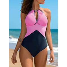 Splice color Halter Elegant One-piece Swimsuits