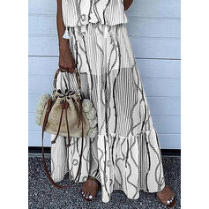 Print Sleeveless A-line Slip Casual/Vacation Maxi Dresses