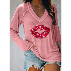 Sequins V-Neck Long Sleeves Casual T-shirts