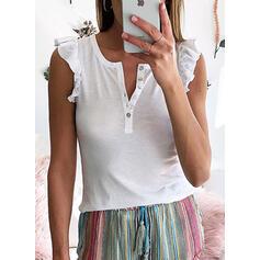 Sólido Cuello en V Sin mangas Con Botones Casual Camisetas sin mangas