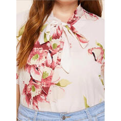 Print Floral Band Collar Short Sleeves Plus Size Blouses