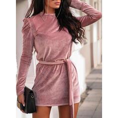 Solid Mâneci Lungi/Mâneci Bufante Manşon Deasupra Genunchiului Negre/Elegant Elbiseler