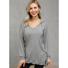 Solid Ribbed V-Neck Casual Sweaters