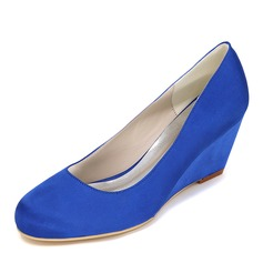 Women's Satin Wedge Heel Closed Toe Pumps Wedges