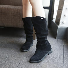 Women's PU Chunky Heel Mid-Calf Boots Snow Boots With Ruched shoes