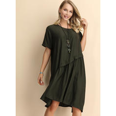 Solid 1/2 Sleeves Shift Knee Length Casual Dresses