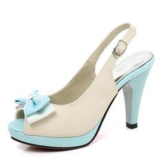 Femmes PU Talon stiletto Sandales Escarpins Plateforme À bout ouvert Escarpins avec Bowknot chaussures