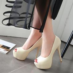 Naisten Keinonahasta Piikkikorko Platform Peep toe kengät