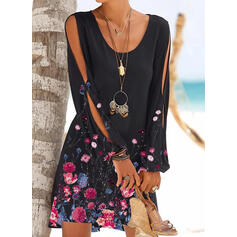 Print/Floral Long Sleeves/Split Sleeve Shift Above Knee Casual/Vacation Tunic Dresses