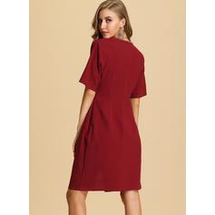 Solid 1/2 Sleeves A-line Knee Length Christmas/Casual/Elegant Dresses