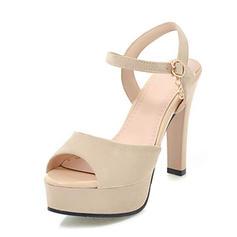 Donna Camoscio Tacco a spillo Sandalo Stiletto Piattaforma Punta aperta Con cinturino con Fibbia scarpe