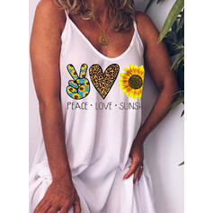 Print/Sunflower Print Sleeveless Shift Above Knee Casual/Vacation Slip Dresses