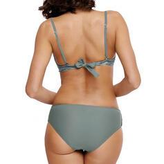 Yksivärinen Matalvyötäröinen Hihna Tyylikäs Bikinit Uima-Asut