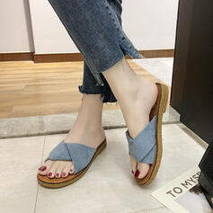 Women's PU Flat Heel Sandals Flats Slippers shoes