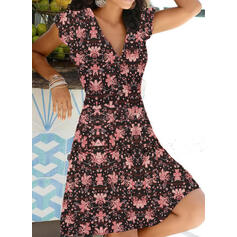 Print/Floral Cap Sleeve A-line Above Knee Casual/Vacation Skater Dresses
