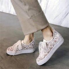 Women's Lace Flat Heel Flats With Ribbon Tie Hollow-out shoes
