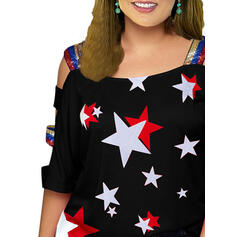 Print Sequins Cold Shoulder 3/4 Sleeves Casual Plus Size Blouses