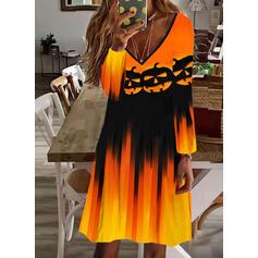 Halloween Tisk Dlouhé rukávy Splývavé Délka ke kolenům Petrecere Tunika Rochii