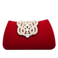 Fashionable Crystal/ Rhinestone/Flannelette Material Clutches