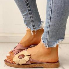 Vrouwen Stof Flat Heel Sandalen Flats Peep Toe met Bloem schoenen