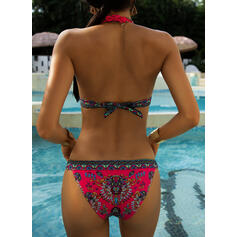 Triangle Low Waist Print Halter Fashionable Retro Bikinis Swimsuits
