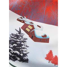 Nadrukowana Długie rękawy W kształcie litery A Długośc do kolan Wintage/Boże Narodzenie/Przyjęcie/Elegancki Łyżwiaż Sukienki