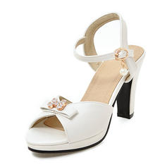 Women's Leatherette Stiletto Heel Sandals Pumps Platform Peep Toe Slingbacks With Bowknot Imitation Pearl Buckle shoes