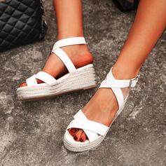 Pentru Femei PU Platforme Înalte Sandale Platformă Platforme Puţin decupat în faţă cu Cataramă De la gât înafară pantofi