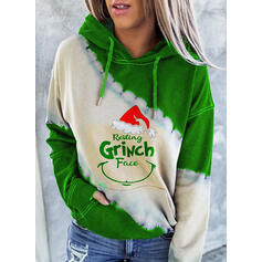 Друк Колірний блок Малюнок Кишені Довгі рукави Різдвяні светри