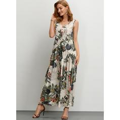 Print/Floral Sleeveless Shift Maxi Casual Dresses