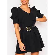 Solide 1/2 Mouwen/Pof Mouwen Shift Boven de knie Zwart jurkje/Casual Jurken