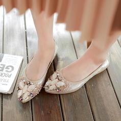Donna PU Senza tacco Ballerine Punta chiusa con Strass scarpe