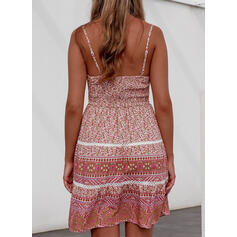 Print Sleeveless A-line Above Knee Sexy/Casual/Boho/Vacation Slip Dresses